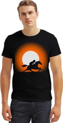 Carte Blanche Printed Men's Round Neck Black T-Shirt