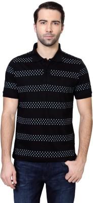 Van Heusen Geometric Print Men's Polo Neck Black T-Shirt