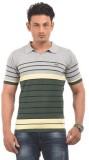 AMX Striped Men's Polo Neck Grey T-Shirt
