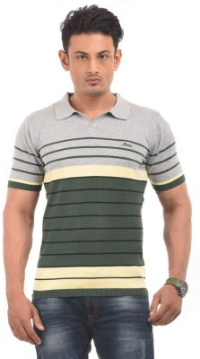 AMX Striped Men's Polo Neck Grey T-Shirt