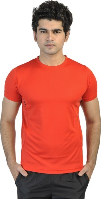 T10 Sports Solid Men's Round Neck Red T-Shirt