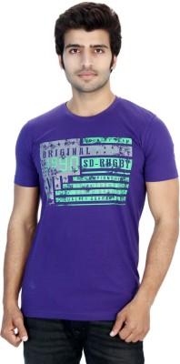 Filimore Graphic Print Men's Round Neck Purple T-Shirt