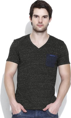 Being Human Clothing Solid Men's V-neck Black T-Shirt