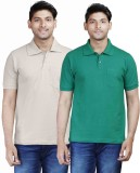 Fleximaa Solid Men's Polo Neck Green, Be...
