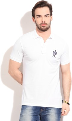 French Connection Solid Men's Polo White T-Shirt