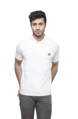 Peerage Solid Men's Polo Neck White T-Shirt