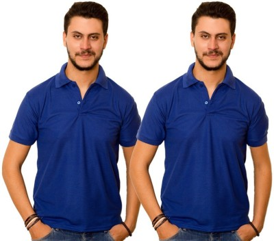 Dreamz Clothing Co Solid Men,s Polo Neck Blue, Blue T-Shirt