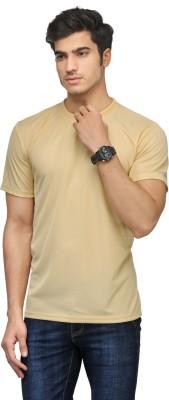 Vicbono Solid Men's Round Neck Beige T-Shirt