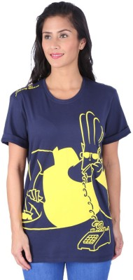 Johnny Bravo Graphic Print Women's Round Neck Dark Blue T-Shirt