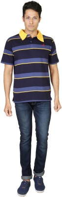 Being Odia Striped Men's Polo Neck Dark Blue, Yellow T-Shirt