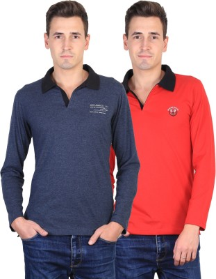 Duke Solid Men's Polo Neck Grey, Red T-Shirt