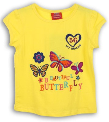 Lilliput Embroidered Girl's Round Neck Yellow T-Shirt