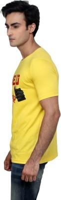 Incynk Printed Men's Round Neck Yellow T-Shirt