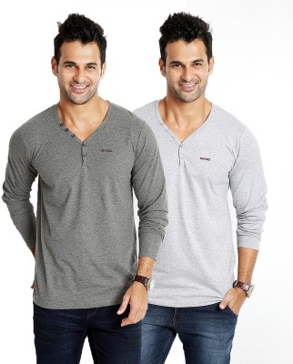 Rodid Solid Men's V-neck Grey T-Shirt