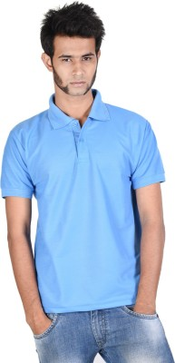 Whistle Solid Men's Polo Neck Light Blue T-Shirt