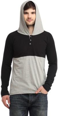 Bigidea Solid Men's Hooded Black, Grey T-Shirt