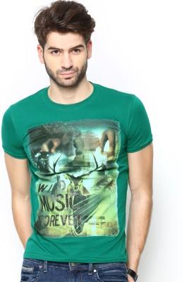 Status Quo Printed Men's Round Neck Green T-Shirt