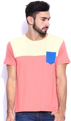 Le Bison Solid Men's Round Neck Pink T-Shirt