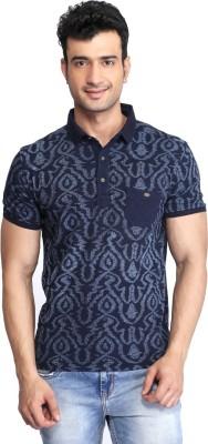 Glabrous Printed Men's Peter Pan Collar Blue T-Shirt