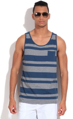 Quiksilver Striped Men's Round Neck Grey, Blue T-Shirt