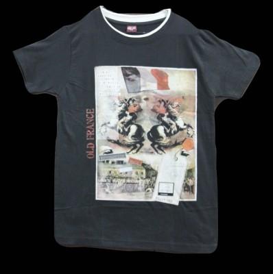 CLICKPURCH Printed Men's Round Neck Black T-Shirt