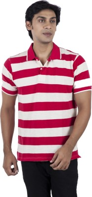 Stop To Start by Shoppers Stop Striped Men,s Polo Neck Red T-Shirt