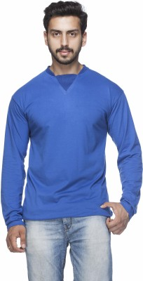 Demokrazy Solid Men's Round Neck Blue T-Shirt