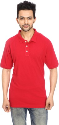 Avantaa Wear Solid Men's Polo Neck Red T-Shirt