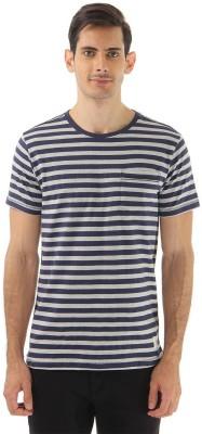 London Fog Striped Men's Round Neck Grey, Blue T-Shirt