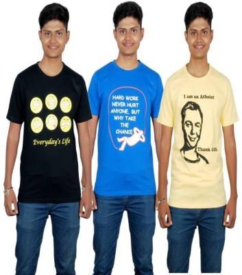 Molecules Printed Men's Round Neck Black, Blue, Yellow T-Shirt