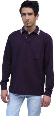 Romano Solid Men's Polo Neck Purple T-Shirt