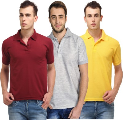 Lime Solid Men's Polo Neck Maroon, Grey T-Shirt