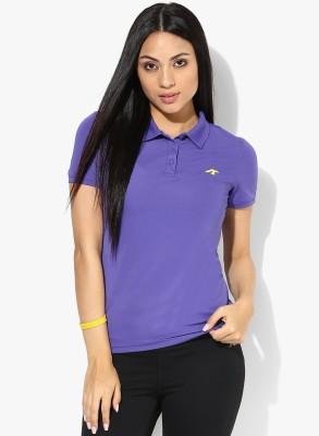 Emerge Solid Women's Polo Neck Purple T-Shirt