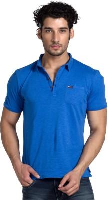 Klub Fox Solid Men's Polo Neck Blue T-Shirt