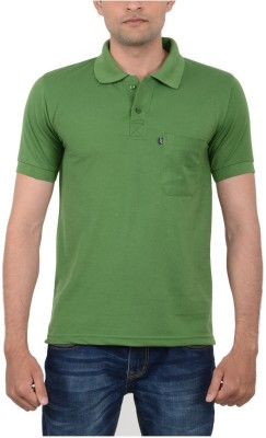 JAPROZ Solid Men,s Polo Neck Green T-Shirt