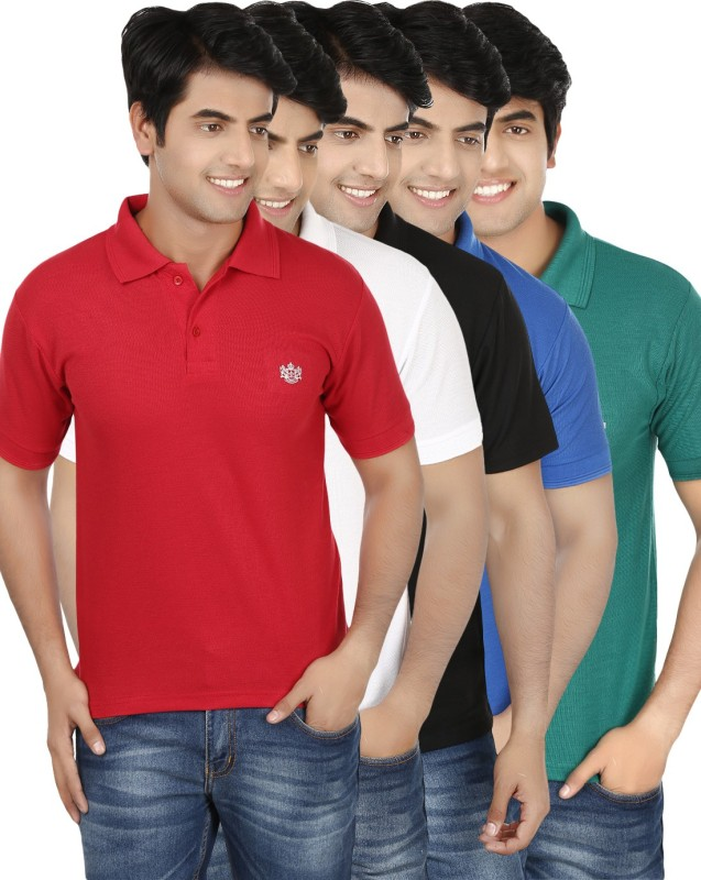 French Circle Solid Men's Polo Neck Multicolor T-Shirt(Pack of 5)