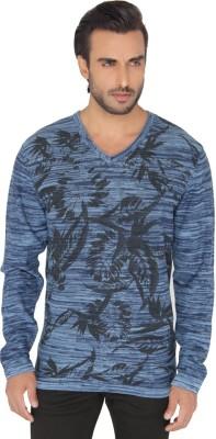 Jadeblue Printed Men's V-neck Blue T-Shirt