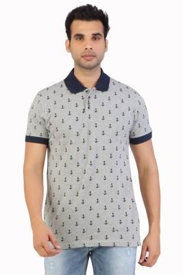 Free Spirit Printed Men's Polo Grey T-Shirt