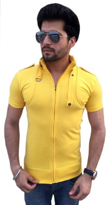 TEES COLLECTION Solid Men's Flap Collar Neck Yellow T-Shirt