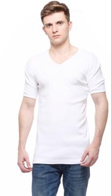 Smilebynature Solid Men's V-neck White T-Shirt