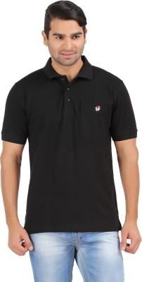 4thneed Solid Men's Polo Black T-Shirt
