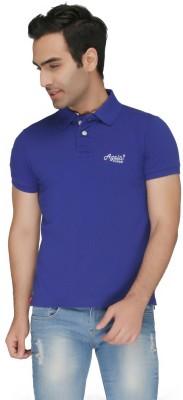 Again Vintage Solid Men's Polo Neck Blue T-Shirt