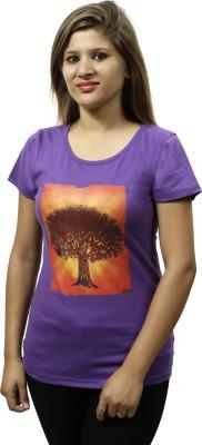 Gypsy Soul Graphic Print Women's Round Neck Purple T-Shirt