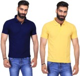 Ave Solid Men's Polo Neck Dark Blue, Yel...