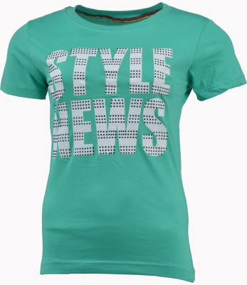 PIN POINT Printed Women's Round Neck Green T-Shirt