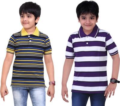 Dongli Striped Boy's Polo Neck T-Shirt