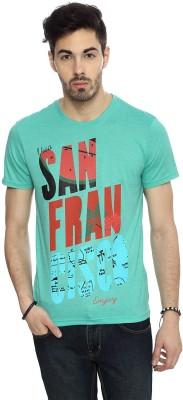 People Graphic Print Men's Round Neck Green T-Shirt