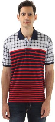 Monte Carlo Striped Men's Polo Neck Dark Blue, Red T-Shirt