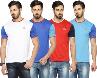 Canyons Solid Men's Round Neck White, Blue, Red, Light Blue T-Shirt