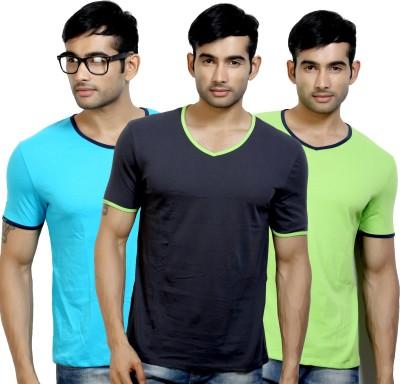 Design Classics Solid Men's V-neck Multicolor T-Shirt